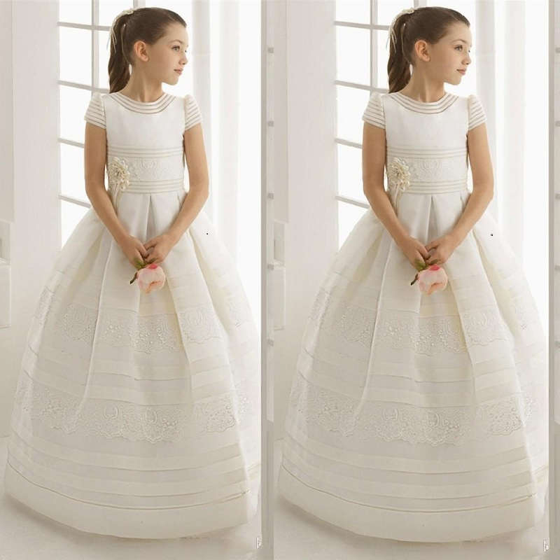 Flower Girl Dress For Wedding Short Sleeves Holy First Communion Dresses Pageant Gown Girls Birthday Party Formal Girl Dresses