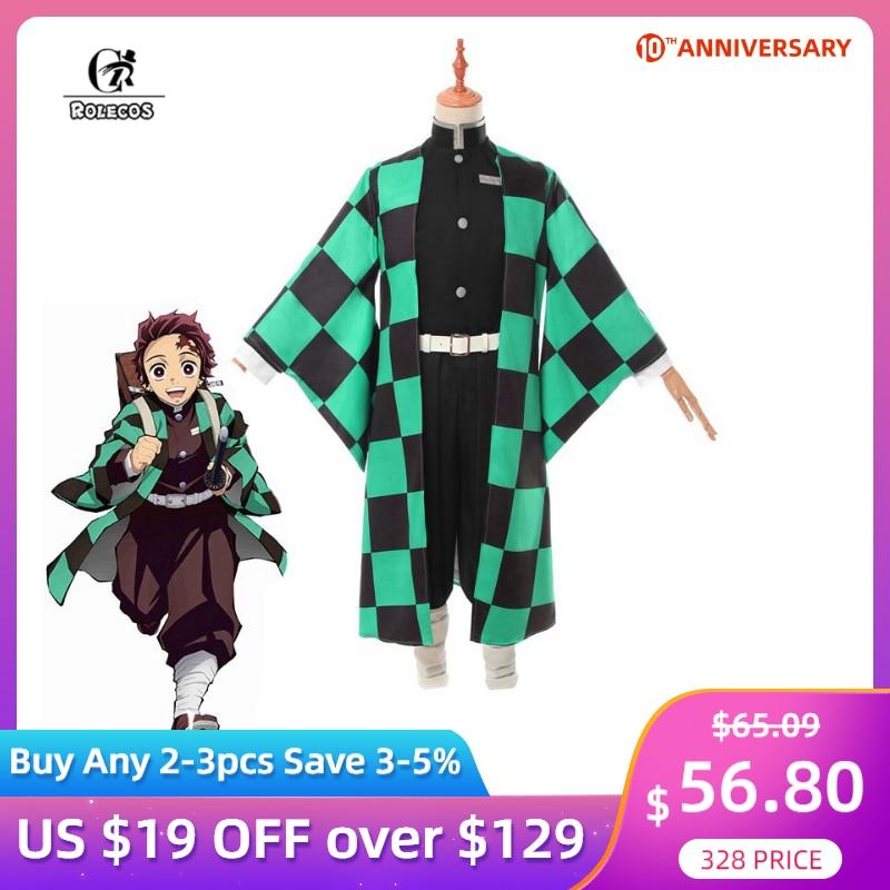 ROLECOS Anime Costume Demon Slayer Cosplay Tanjirou Kamado Cosplay Costume Kimetsu No Yaiba Men Kimono Costume Halloween