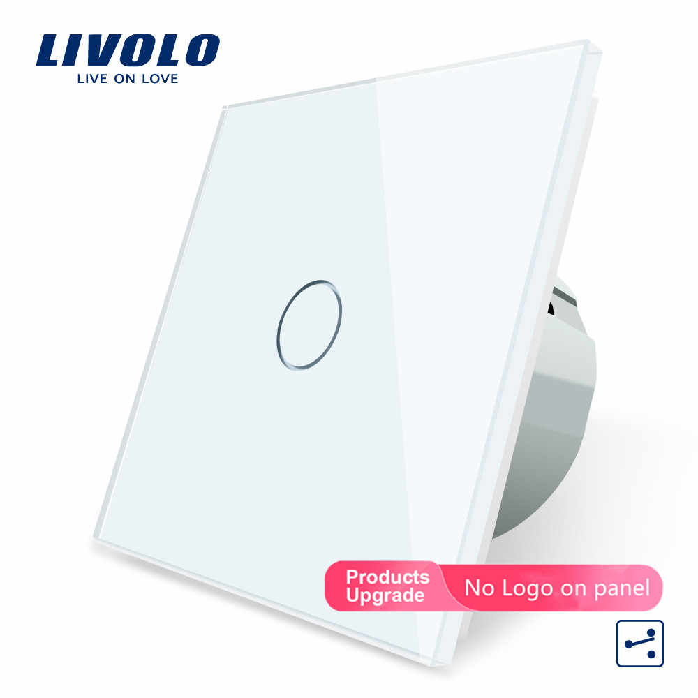 Livolo Eu Standaard, Wandschakelaar, 1 Gang 2 Way Control, Crystal Glass Panel, muur Light Touch Screen Switch VL-C701S-11/12