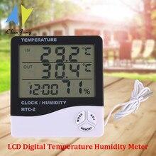 ChanFong – thermomètre et hygromètre numérique LCD HTC-2, Station météo avec horloge, pour l'intérieur et l'extérieur