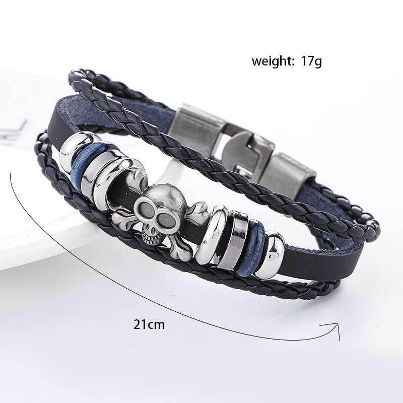 Multicouche Bracelet Crâne Hommes décontracté Mode En Cuir Tressé bracelets pour femme Bracelet En Perles de Bois Punk Rock Hommes Bijoux