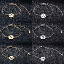 100% 316L Stainless Steel A-Z Initial Name Charm Bracelet Alphabet 26 Letter Dainty Jewelry Bracelets Wholesale Dropshipping