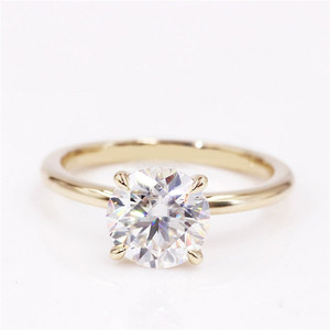 Image 2 - CxsJeremy 2.0Ct Round Solitaire Moissanite Engagement Ring14K Yellow Gold Moissanite Diamond Wedding Band Anniversary Gift
