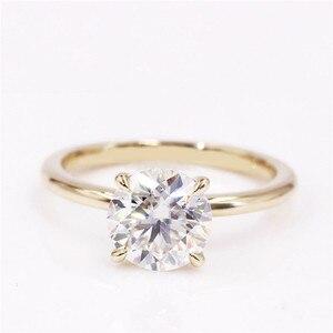 Image 2 - CxsJeremy 2.0Ct yuvarlak Solitaire Moissanite nişan Ring14K sarı altın Moissanite elmas düğün Band yıldönümü hediyesi