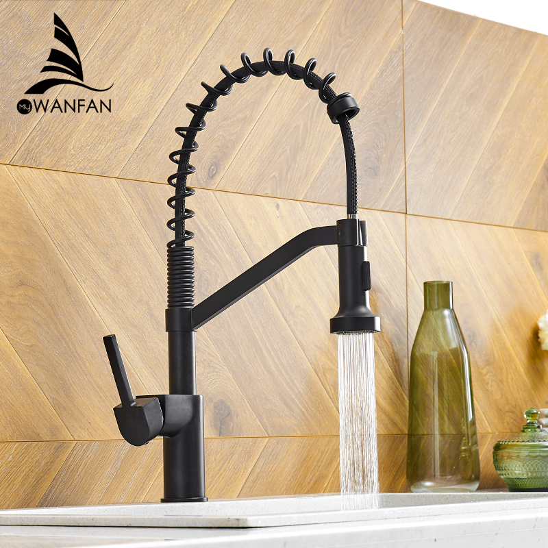 WANFAN Modern Polished Chrome Brass Kitchen Sink Faucet Pull Out Single Handle Swivel Spout Vessel Sink Mixer Tap 9013