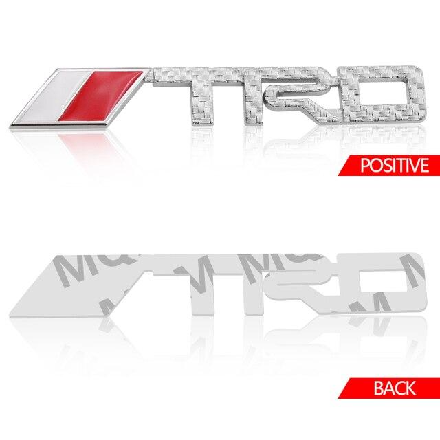 1 pçs fibra de carbono trd sorts logotipo 3d racing metal adesivo emblema auto decalque para toyota coroa reiz corolla camry vios