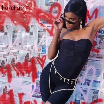 Forefair Black Sports Jumpsuit Women Sexy Strapless Ruched Slim Bodycon One Piece Bodysuit 2020 Summer Women Rompers 2