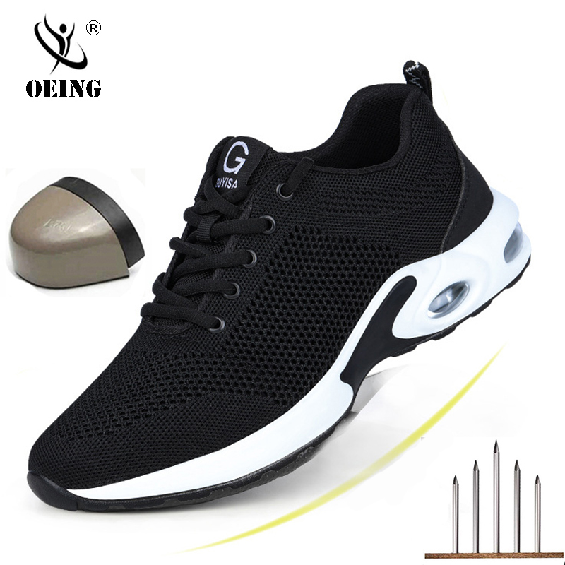 Men Steel Toe Boots Work Safety Plus Size Outdoor Tennis Breathable Protective Puncture-proof Safety Shoes For Men Sneakers 2020
