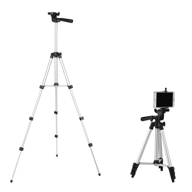 4 Sections DSLR Camera Tripod Stand Mini Protable Tripod with Phone Mount Holder for LED Light Action Camera Mobile Phone Tripod
