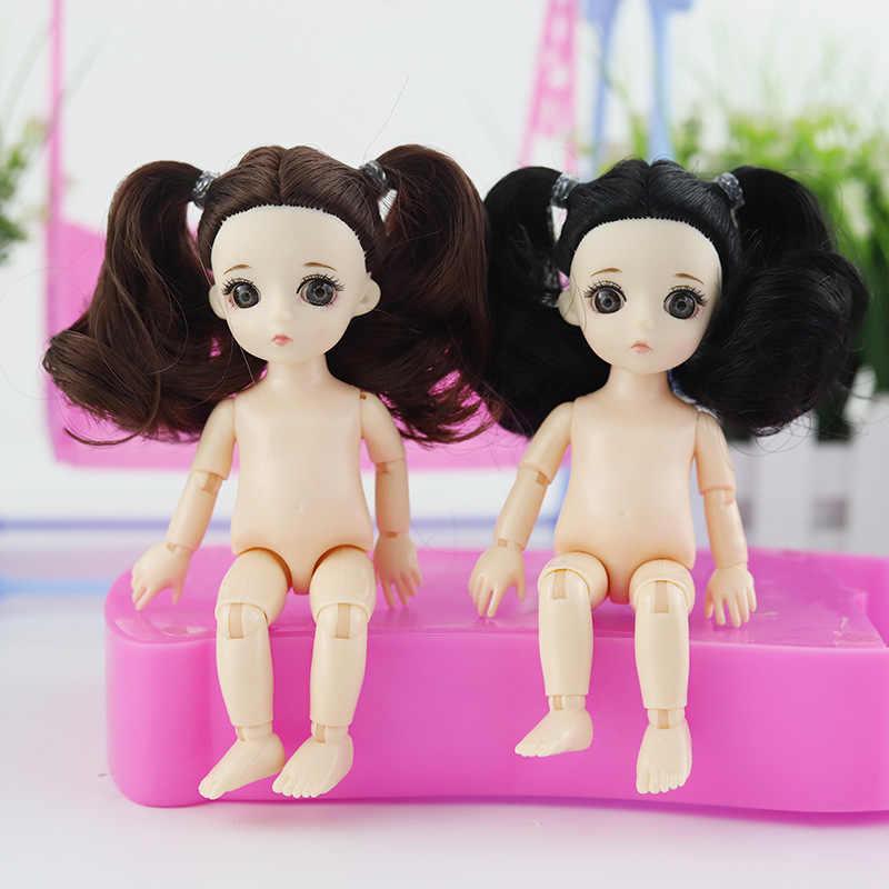 13 moveable articulado 16cm 1/8 bonecas mini boneca do bebê bjd rosa amarelo prata cabelo nu feminino corpo forma bonecas brinquedo para meninas presente