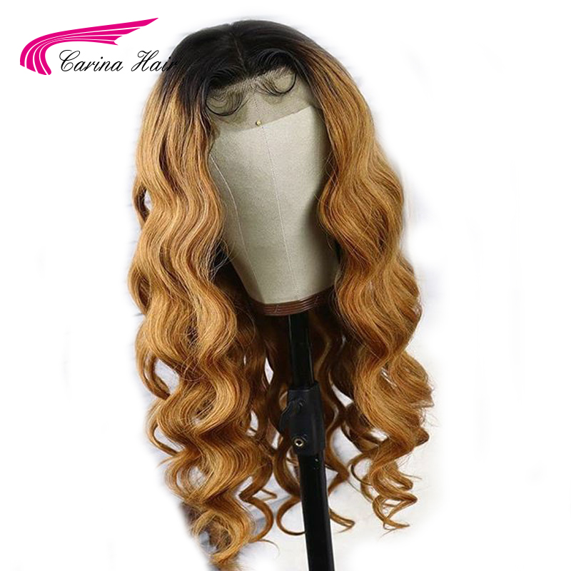 Carina Ombre 1b 27 Honey Blonde Colored Lace Front Human Hair Wigs 13x3 Body Wave Preplucked Glueless Brazilain Remy Hair