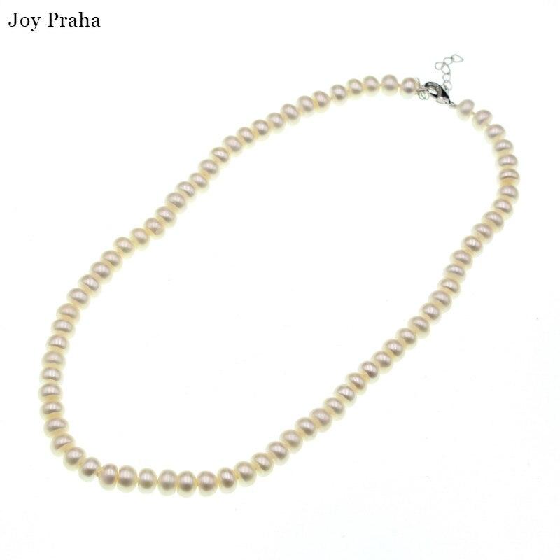 Collier de femmes de perles d'eau douce naturelles/chaîne de clavicule de perle ronde courte/livraison directe en gros
