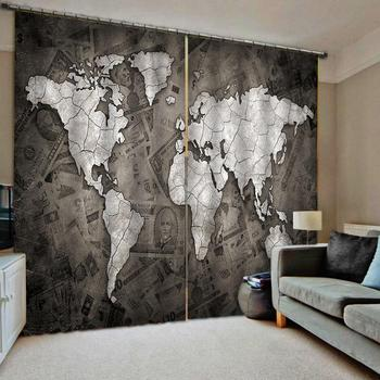 Grey map curtains 3D Curtain Luxury Blackout Window Curtain Living Room Blackout curtain
