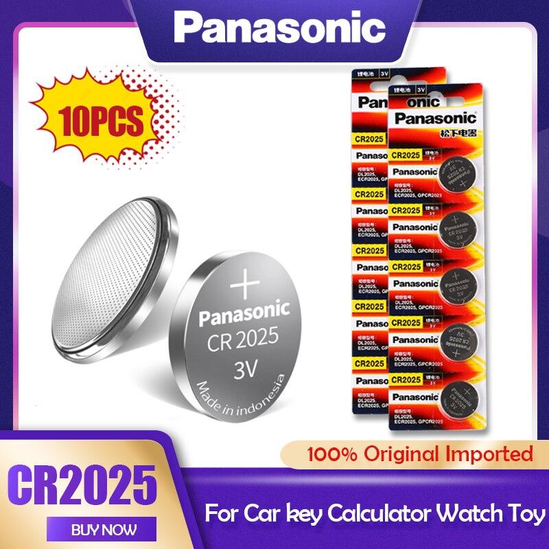 10 pces originais panasonic cr2025 cr 2025 ecr2025 br2025 dl2025 kcr2025 lm2025 3v baterias de lítio para câmera relógio botão célula|Bateria de célula de botão|   -