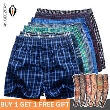 7 Pcs/ Packag Men Plaid Underpants Boxers 100% Cotton Striped Shorts Underwear Sleep Bottoms Loose Comfortable Home Week Panties