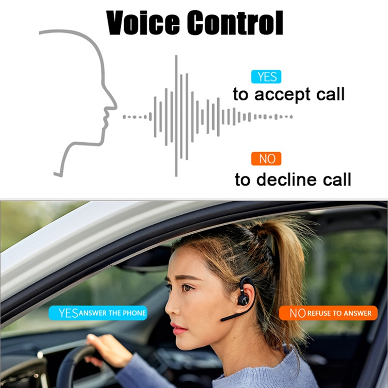 Voice Control Bluetooth Earphone Sport Headphone Handsfree Mic Microphone for Phone Car Driver Wireless Business Headset in Bluetooth Earphones Headphones from Consumer Electronics