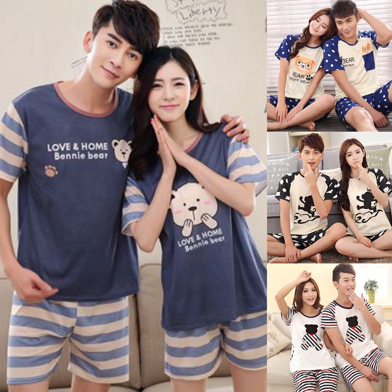 Couples Sleepwear Women Men Summer Cartoon Short Sleeve Pullover Pants Pajamas Set Cotton Casual Lounge Wear New M/L/XL/2XL 2020