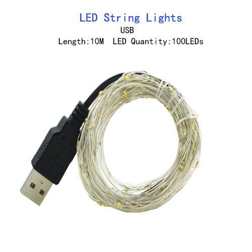 1/2/5/10 M Медный провод светодиодные огни строки праздник освещение гирляндой Рождественский венок для год свадебная вечеринка украшения - Испускаемый цвет: USB Powered-10M