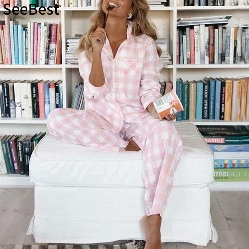 SeeBest Cotton Plaid Pajamas For Women Pajamas Set Homewear Sleepwear Women Cotton Pajamas Lounge Wear Couple Summer Pyjamas
