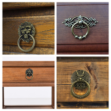 Head Drawer Cabinet Door Pull Vintage Dragon Drawer Knobs Head Lion Handle Ring Hardware Dresser Retro Dragon furniture handles