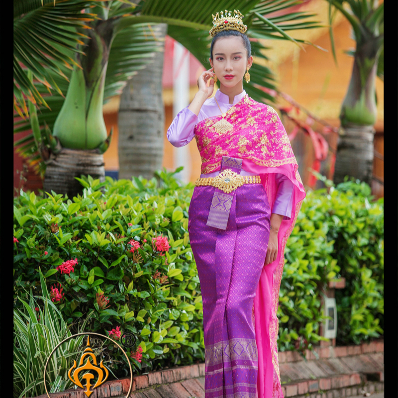 Thai Dress Stand Collar Long Sleeve Tops Purple Restaurant Welcome Annual Meeting Clothes Thailand Traditional Clothing