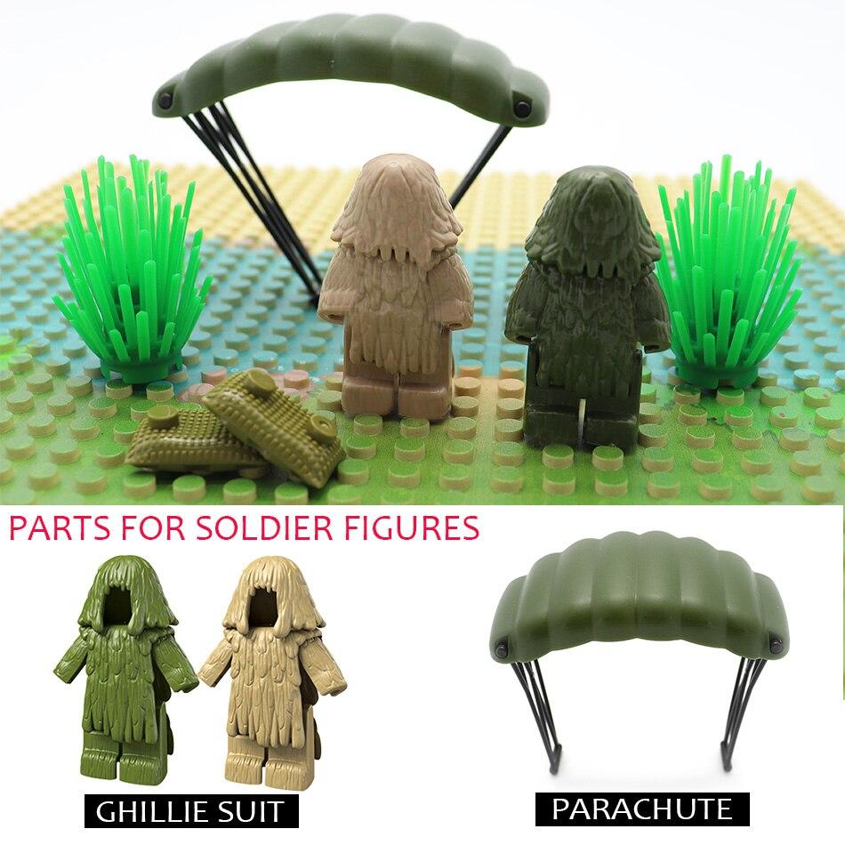 6PCS Plastic Ghillie Suit Parachute PUBG Accessories Military SWAT Soldier Weapon Gun Building Blocks Compatible Legoed Army Toy