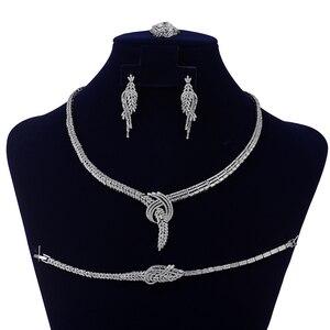Image 2 - Jewelry Set HADIYANA Trendy Zirconia Luxury Women Wedding Party Bridal Necklace Earrings Ring And Bracelet Set CN1373 Bisuteria