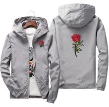 S-7XL 2019 Beand Hot Sale Rose Embroidery Jacket Windbreaker Men Coats Women Spring Autumn College Jackets Streetwear Clothes