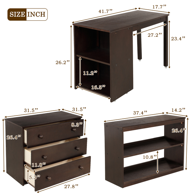 Twin Loft Bed with Cabinet and Desk 6