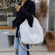 Weiß Leder Frauen Halbe Mond Taschen Große Kapazität Hobo Shopper Tasche Qualität Weichen PU Crossbody-tasche Beiläufige Koreanische Weibliche Tote taschen
