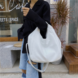 White Leather Women Half Moon Bags Large Capacity Hobo Shopper Bag Quality Soft PU Crossbody Bag Casual Korean Female Tote Bags
