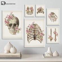 Floral ossos esqueléticos anatomia poster crânio coluna médica impressão em tela pintura em tela imagem abstrata clínica decoração de casa