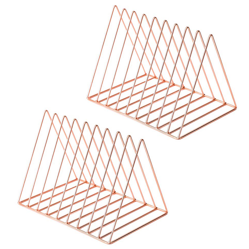 2 Pcs Desktop File Sorter Organizer Files Folder Stand Desktop File Organizer, Copper Wire Book Shelf Rack Magazine Holder 9 Sec