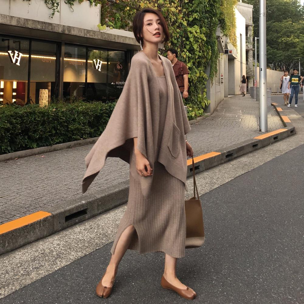 New 2019 Women's Knitted Batwing Sleeve Loose Cardigan Sweaters Two Piece Set And Fall Winter Halter Long Split Knit Dress Suits