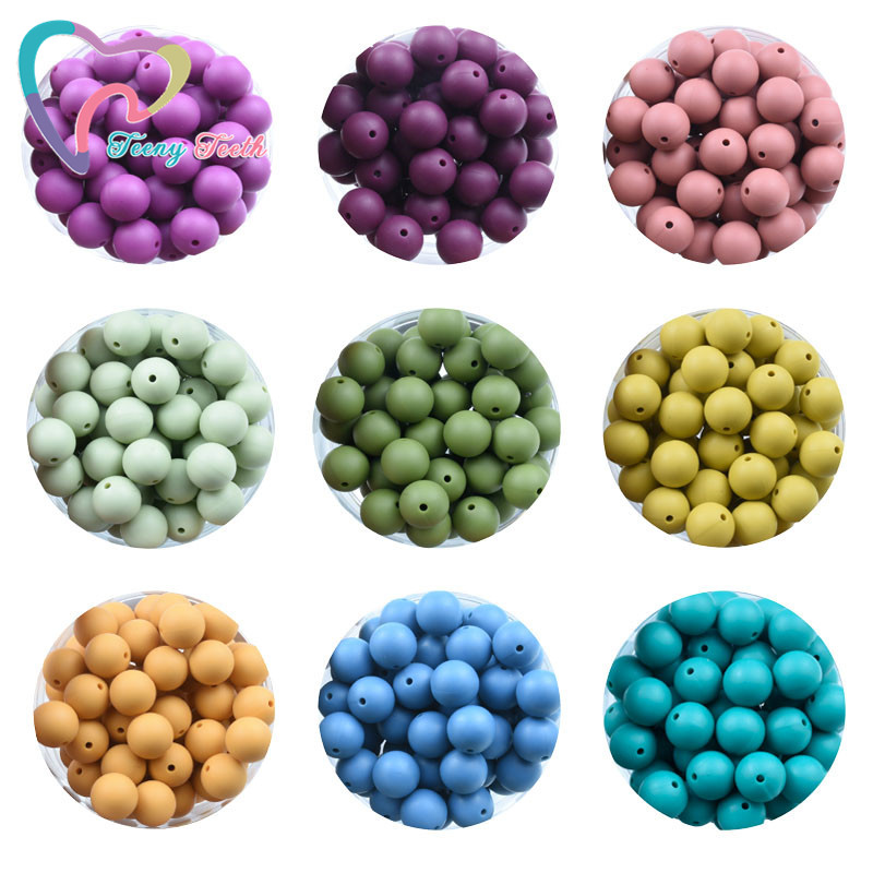 10 silicone ROSE COPPER 12mm beads round BPA free baby teeth safe nursing chew