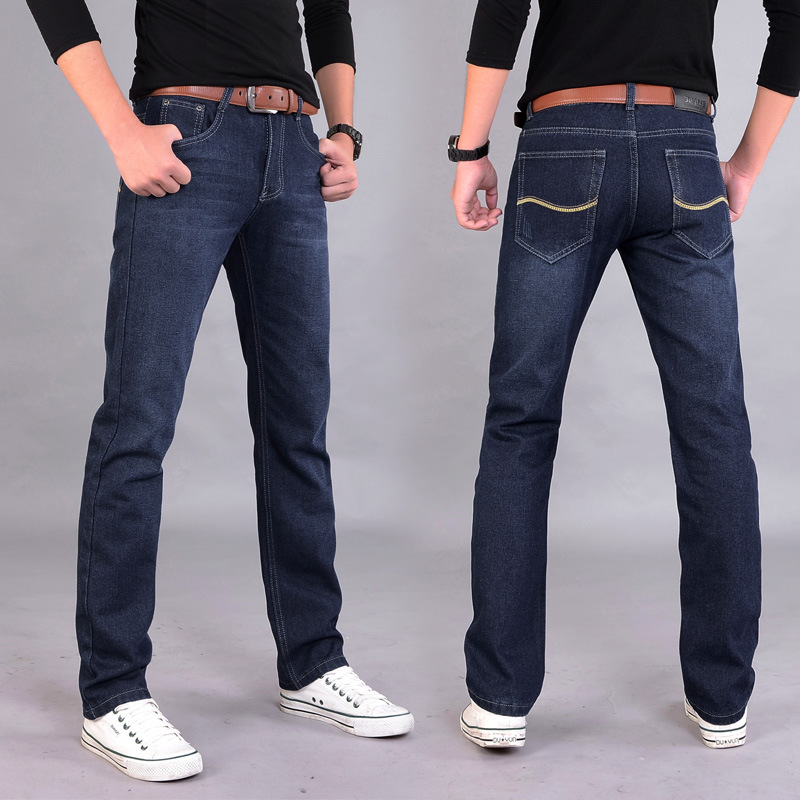 Men Medium Waist Straight-Cut Jeans Fashion Casual Men's Trousers Youth Popularity Slim Fit Long Pants NZK