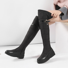 Fashion Echtes Leder frauen winter antislip plattform schuhe Warme plüsch zipper femmes stiefel Komfort runde kappe schnee botas mujer