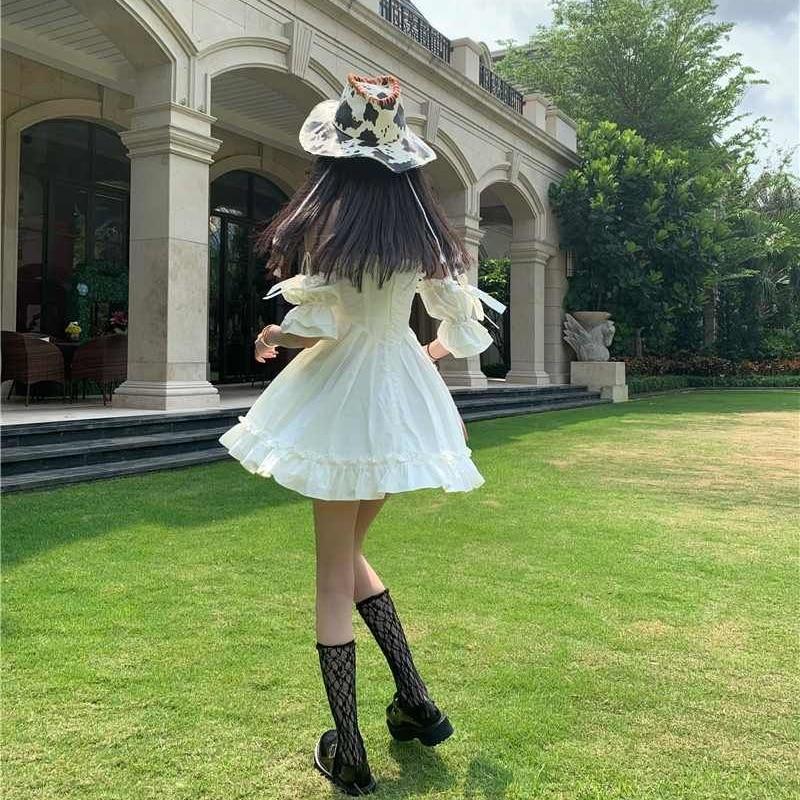 White Kawaii Fairy Strap Dress Women Patchwork Off Shoulder Sexy Party Mini Dresses Bow Ruffle Sweet Cute Princess Sundress 2021 6