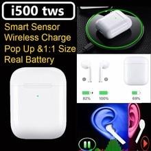 Original i500 TWS 1:1 mini Pop-up Real Power Show Wireless earphones PK W1 Chip Bluetooth 5.0 Earphones i30 i60 i80 i200 tws