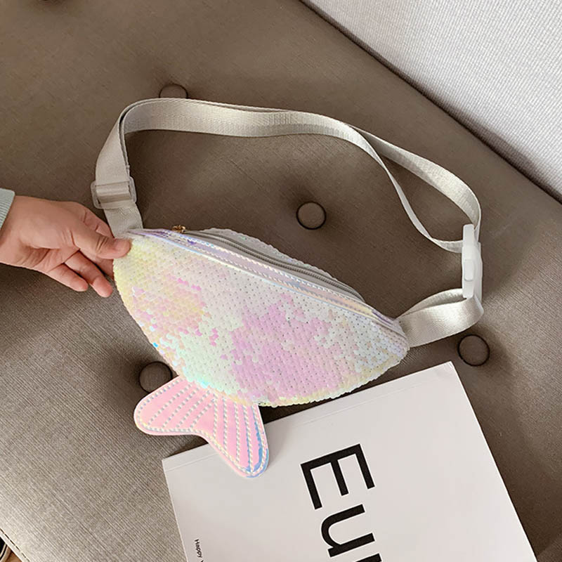 Sequins Printing Fish Tail Sequin Fashion Waist Bag Fanny Pack Children Cartoon Chest Bag Outdoor Travel Pocket Phone Pouch