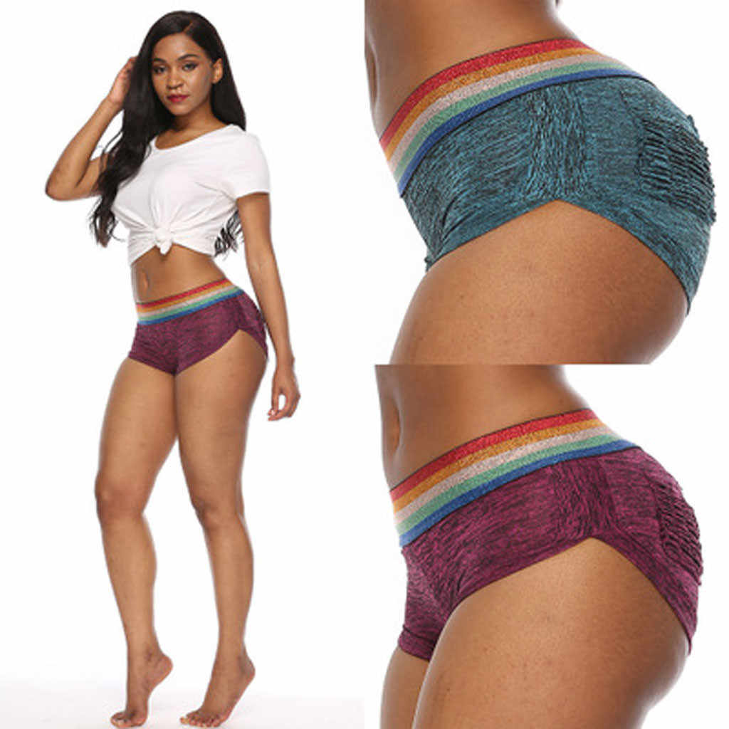 Nieuwe Hot koop Vrouwen Hoge Taille Ruches Lift Workout Patchwork Panty Stretchy Yoga Skinny Shorts gym tops Korte ropa mujer 2019