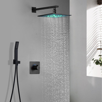 Hotel Wall Mounted Black Shower Faucets 10 Inch LED Rain Showerhead Hot And Cold 2 Functions Bath System Massage for bathroom