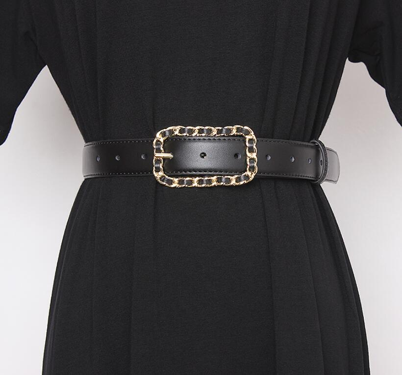 Women's Runway Fashion Black Genuine Leather Cummerbunds Female Dress Corsets Waistband Belts Decoration Wide Belt R2616