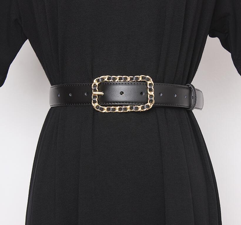 Women's Runway Fashion Black Genuine Leather Cummerbunds Female Dress Corsets Waistband Belts Decoration Wide Belt R2616
