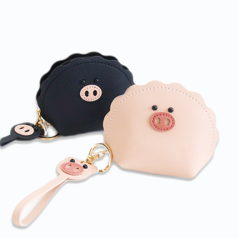 Fashion Women Lady Kid Coin Wallet Black Purse Change Kawaii Wallet Cartoon Pig Coin Purse Pocket Children Plush Girl Coin Pouch
