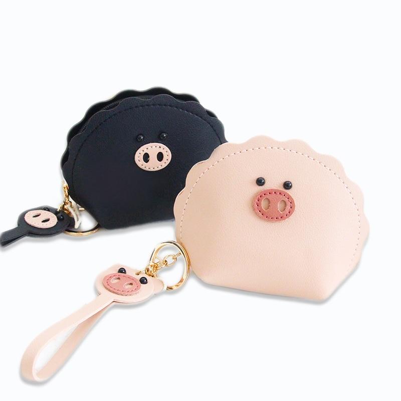 Fashion Women Lady Kid Coin Wallet Black Purse Change Kawaii Wallet Cartoon Pig Coin Purse Pocket Children Plush Girl Coin Pouch