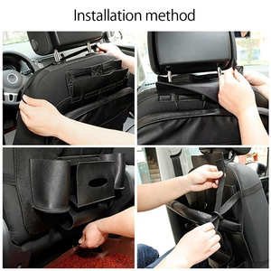 Image 4 - New PU Leather Car Seat Back Bag Folding Table Organizer Pad Storage Pocket Box Travel Stowing Tidying Automobile Accessories
