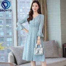 Chiffon Dot Print Midi Dress for Women Casual Thin Long Sleeve Blue V-neck Fashion Elegant Evening Party Dresses Vestidos