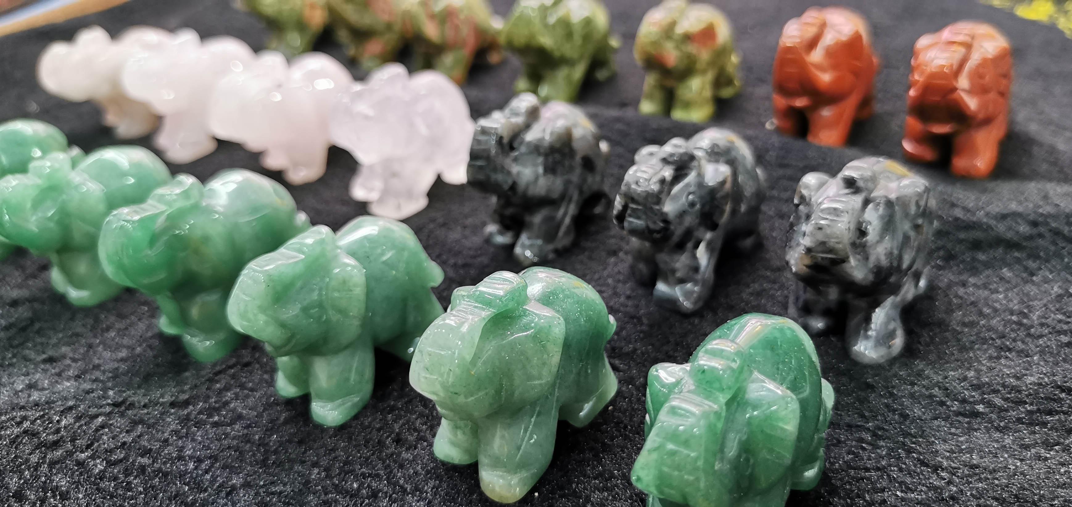 Batch Assorted Stone POCKET Elephant Crystal Healing Spiritual Support 2-3inch Jewelry Elephant Spirit Animal