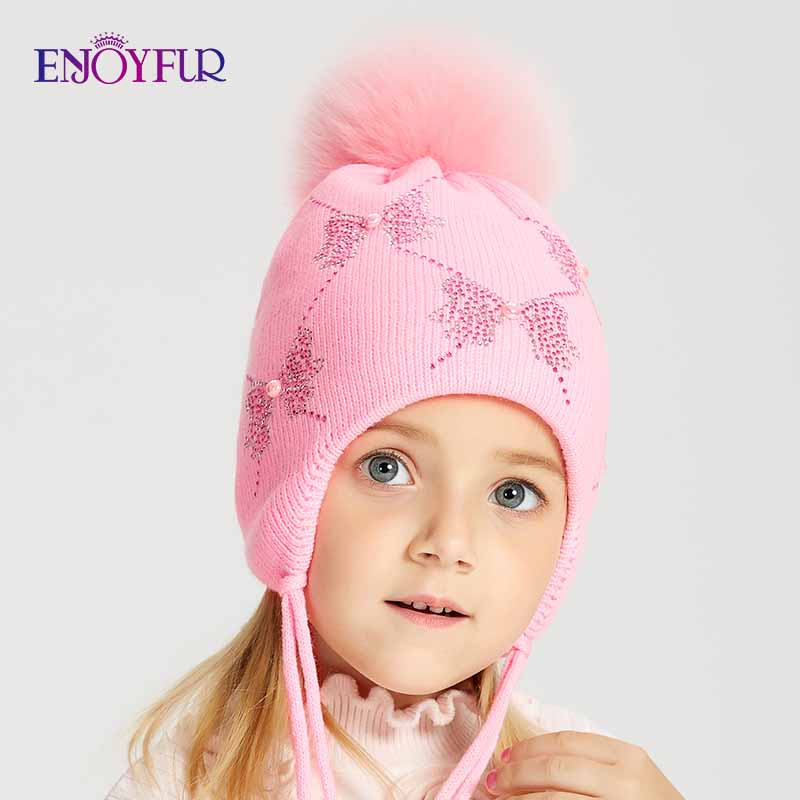 ENJOYFUR Winter Fox Fur Pompom Kids Hat Girls Rhinestones Bow-Knot Pattern   Beanies   Warm Knitted Autumn Children Caps